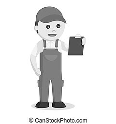 Plumber holding clipboard black and white style