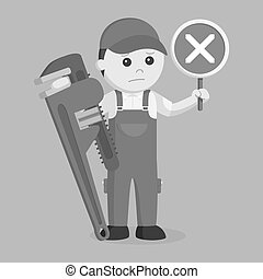Plumber holding false sign and giant pipe wrench black and white style