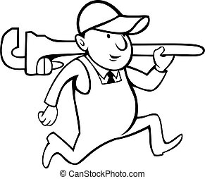 Plumber Holding Monkey Wrench Cartoon Black and White