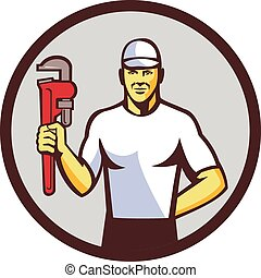 Plumber Holding Monkey Wrench Circle Retro