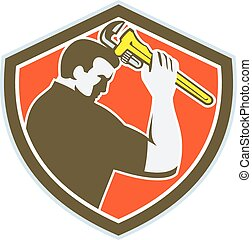 Plumber Holding Monkey Wrench Crest Retro