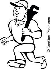 Plumber Holding Monkey Wrench Running Cartoon Black and White