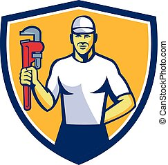 Plumber Holding Monkey Wrench Shield Retro