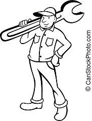 Plumber Holding Pipe Wrench Cartoon Black and White