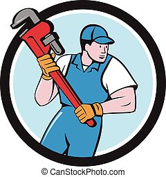 Plumber Holding Pipe Wrench Circle Cartoon - Illustration of...