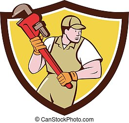 Plumber Holding Pipe Wrench Crest Cartoon - Illustration of...