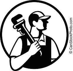 Plumber Holding Pipe Wrench Looking to Side Circle Retro Black and White