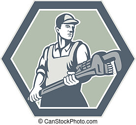 Plumber Holding Plumbing Wrench Retro - Illustration of a...