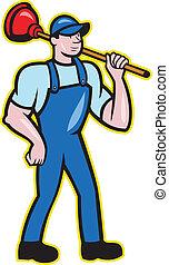 Plumber Holding Plunger Standing Cartoon