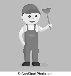 Plumber holding toilet plunger black and white style