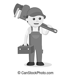 Plumber holding tool box and giant pipe wrench black and white style