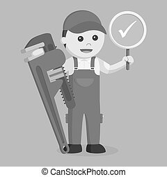Plumber holding true sign and giant pipe wrench black and white style