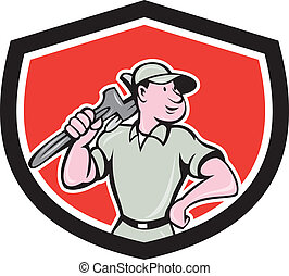 Plumber Holding Wrench Shield Cartoon