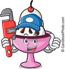 Plumber ice cream sundae mascot cartoon vector illustration