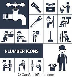 Plumber Icons Black