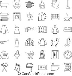 Plumber icons set, outline style