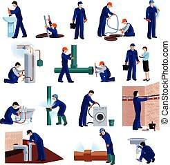 Plumber icons set - Plumber flat icons set with repair...