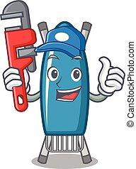 Plumber iron board mascot cartoon vector illustration