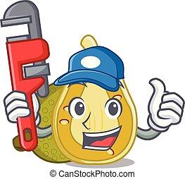 Plumber jackfruit mascot cartoon style vector illustration