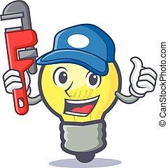 Plumber light bulb character cartoon