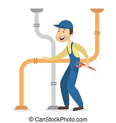 Plumber man with pipes.