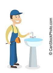 Plumber man with sink.