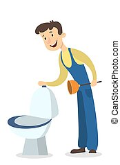 Plumber man with toilet. - Isolated plumber man set with...