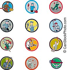 Plumber Mascot Circle Cartoon Set - Set or collection of ...