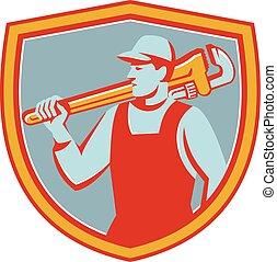 Plumber Monkey Wrench Shoulder Shield Retro