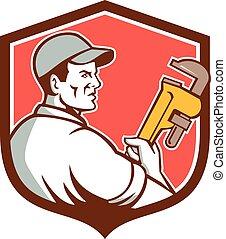 Plumber Monkey Wrench Side Shield Retro