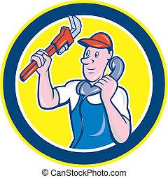 Plumber Monkey Wrench Telephone Circle Cartoon