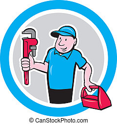Plumber Monkey Wrench Toolbox Circle Cartoon - Illustration...