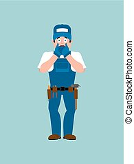 Plumber OMG. Fitter Oh my God. Service worker Serviceman Surprise. Vector illustration