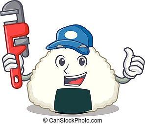 Plumber Onigiri mascot cartoon style