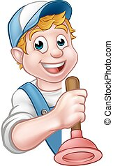 Plumber or Handyman Holding Toilet Plunger
