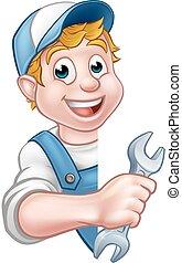 Plumber or Mechanic Holding a Spanner