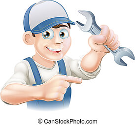 Plumber or mechanic pointing - A plumber, mechanic or ...