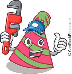 Plumber party hat mascot cartoon vector illustration