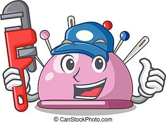 Plumber pincushion a cartoon pins for sewing vector...
