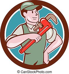 Plumber Pointing Monkey Wrench Circle Cartoon
