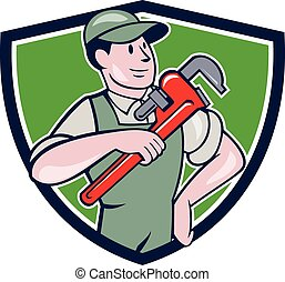 Plumber Pointing Monkey Wrench Shield Cartoon