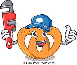 Plumber pretzel mascot cartoon style