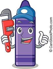 Plumber purple crayon in a mascot bag