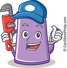 Plumber purple teapot character cartoon