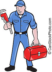 plumber repairman holding monkey wrench - illustration of a...