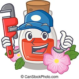 Plumber rosehip seed oil on a mascot