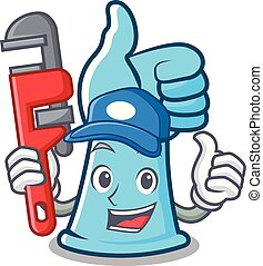 Plumber rubber gloves mascot cartoon vector illustration