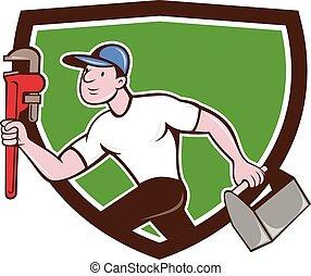 Plumber Running Toolbox Wrench Crest Cartoon