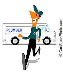 Cartoon image of a worker rushing to plumbing job