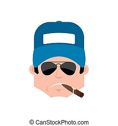 Plumber Serious emotion avatar. fitter with a cigar emoji face. Vector illustration
